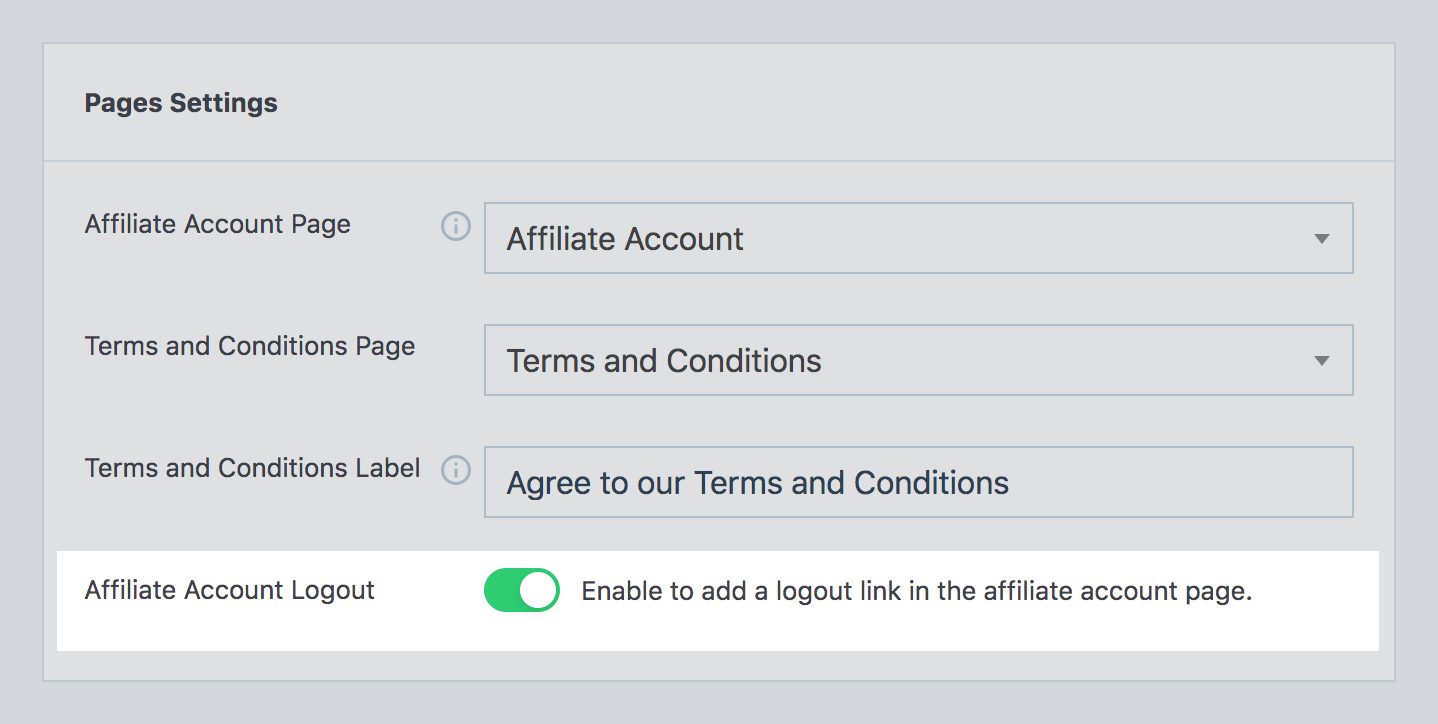 Logout option for affiliate account in SliceWP admin settings page.
