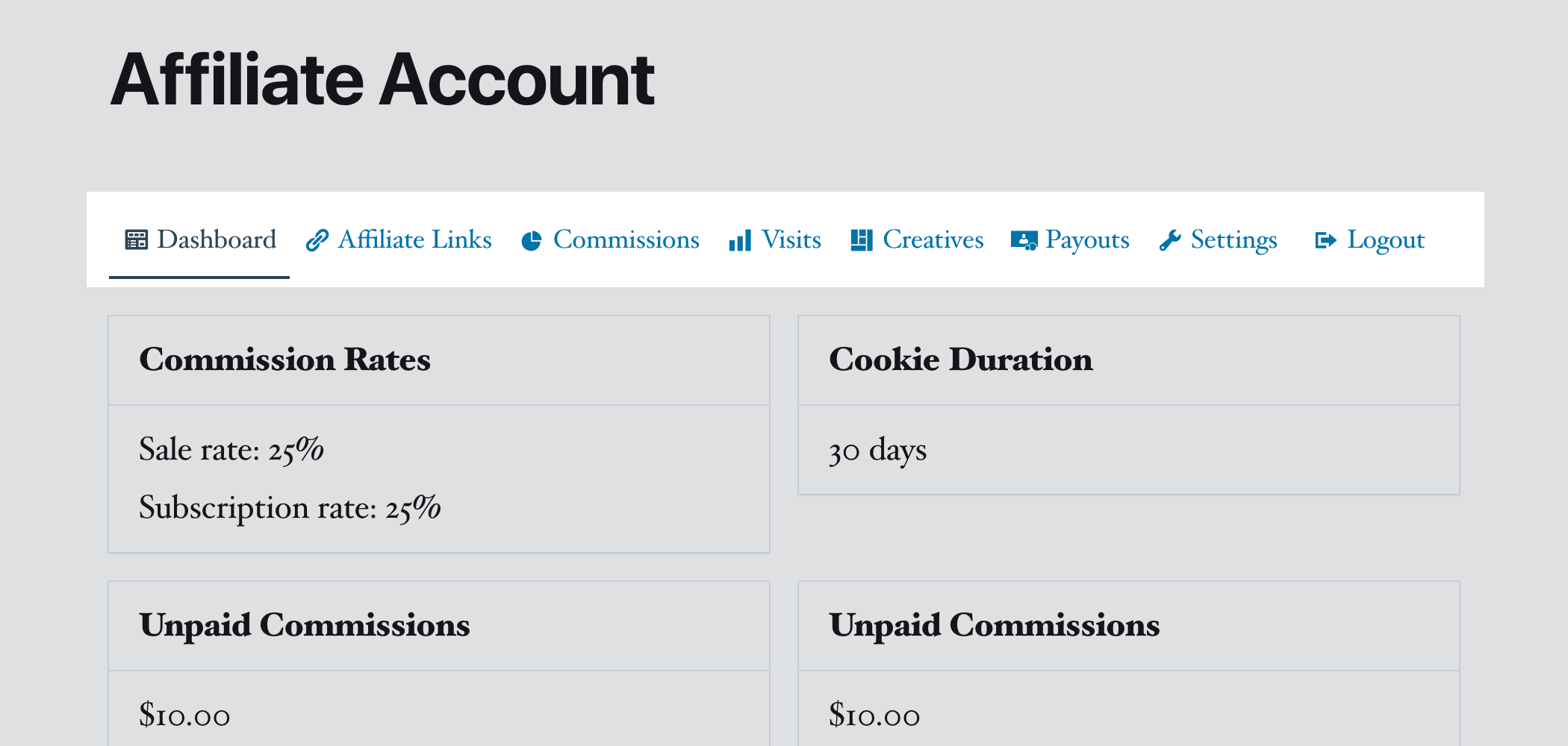 SliceWP affiliate account menu with Logout link.