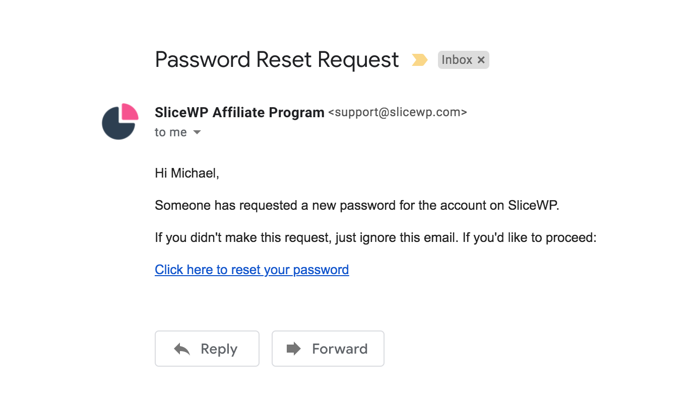 Reset password request email, as shown in Gmail.
