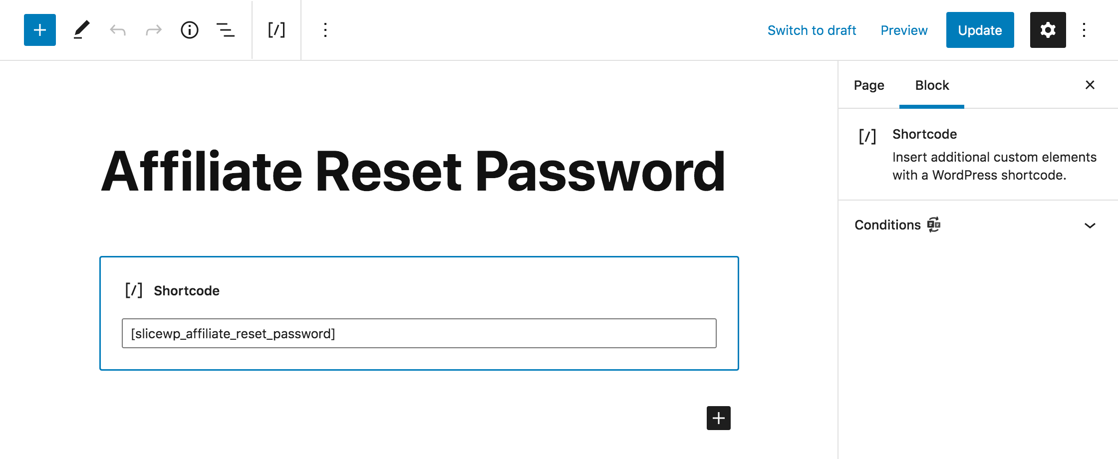 Affiliate reset password edit page in WordPress.