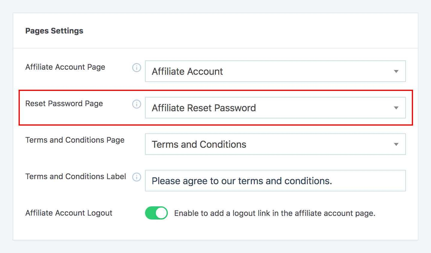 Reset password page option in SliceWP's settings admin page.