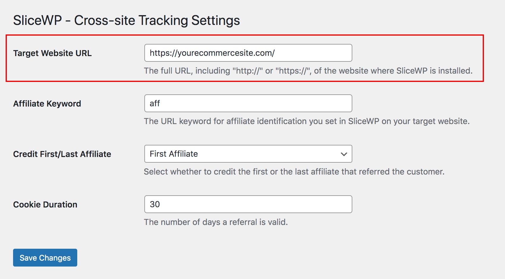 Target website URL option in SliceWP Cross-site Tracking add-on.