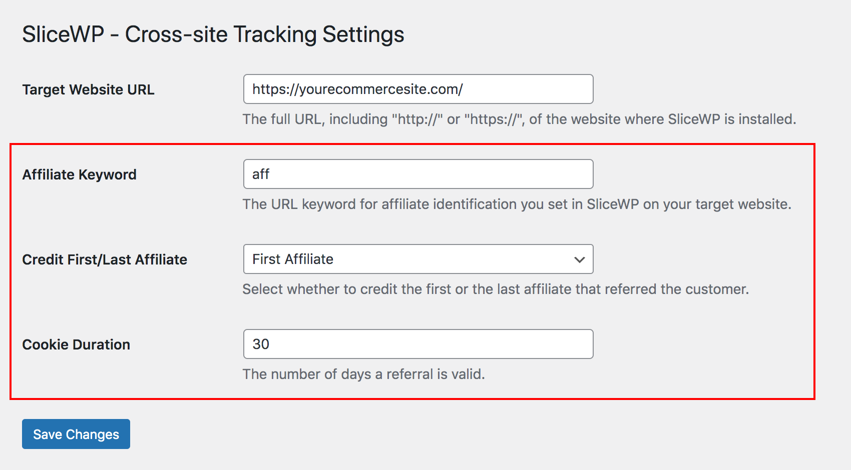 Affiliate Keyword, Credit First/Last Affiliate and Cookie Duration options in SliceWP Cross-site Tracking add-on.