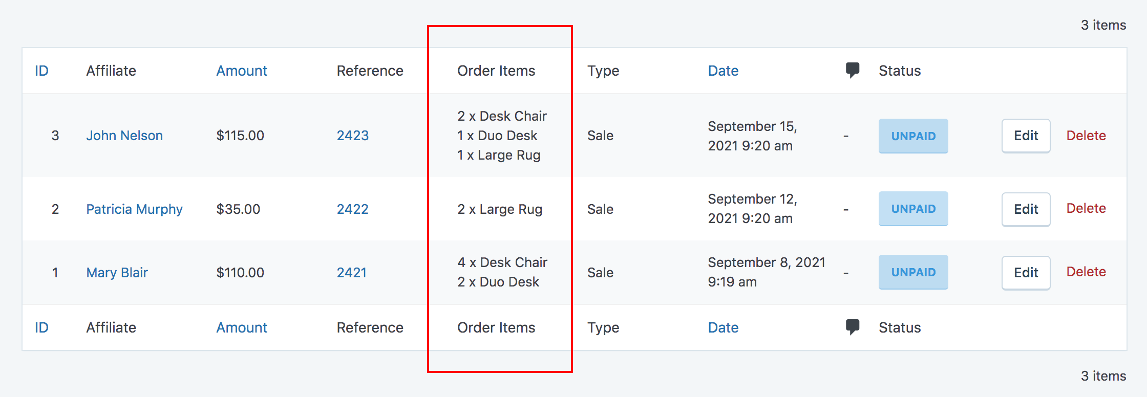 Order Items column in SliceWP admin commissions table.