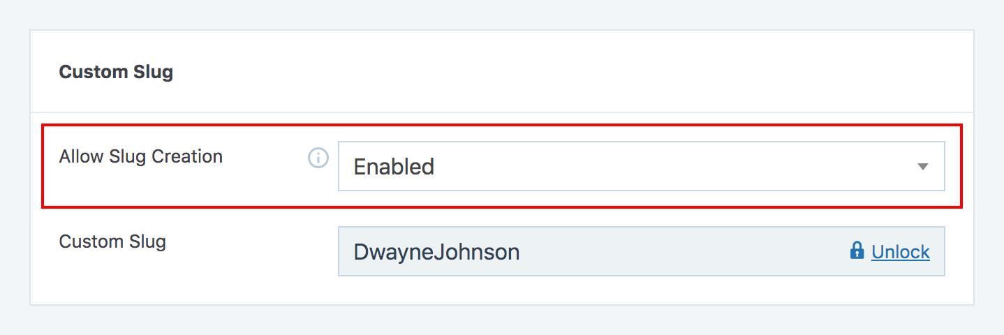 Enable custom slug creation for individual affiliates option in SliceWP affiliate edit page.