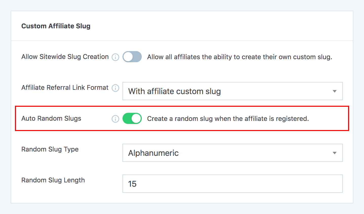 Enable auto random affiliate slugs option in SliceWP settings page.