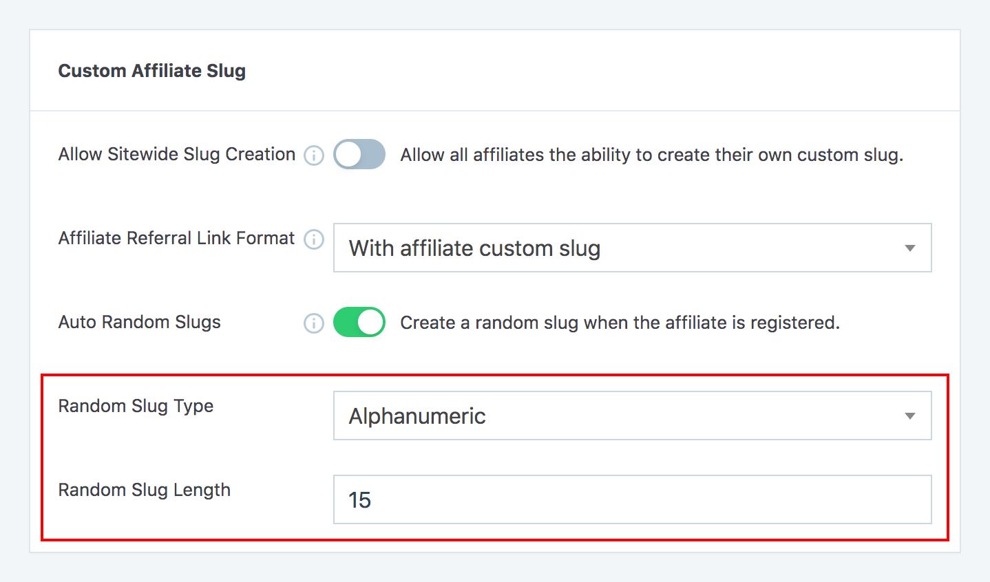 Auto random affiliate slugs type and length options in SliceWP settings page.