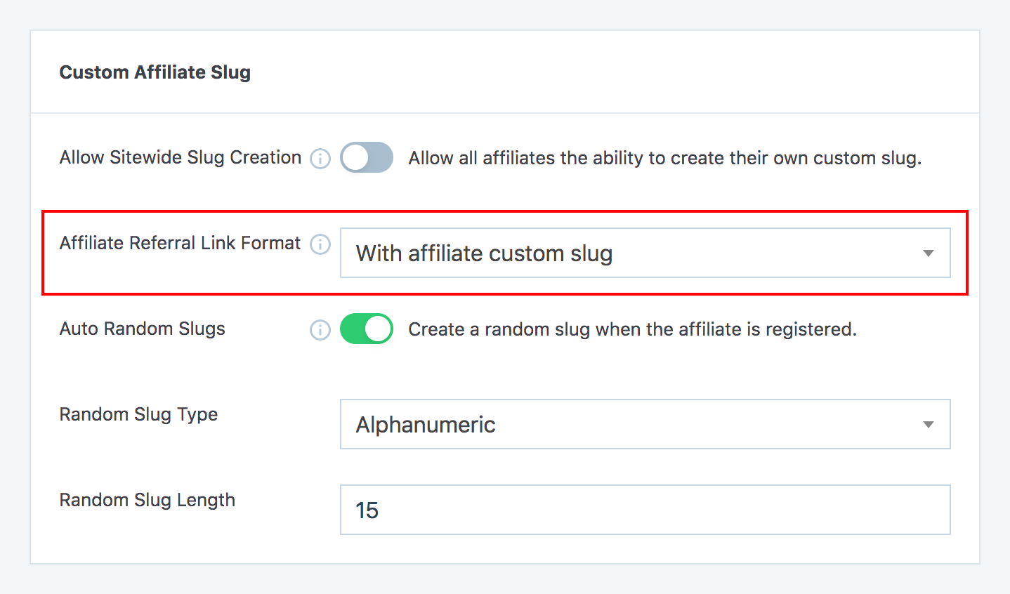Affiliate referral link format option in SliceWP settings page.